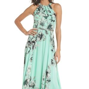 New Eliza J Belted Chiffon Halter Maxi Dress